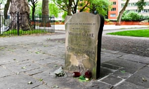 William Blake's headstone in Bunhill Fields, a former burial ground, in London.
