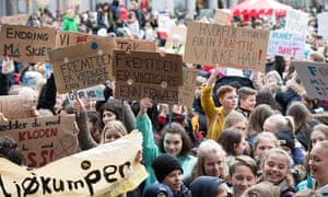 Several thousand schoolchildren hold a climate change protest in Bergen, Norway