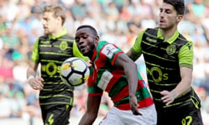 Joel Tagueu, pictured in action for Portuguese side Maritimo last year, was withdrawn from Cameroon's squad before they play their first Afcon match on Tuesday.