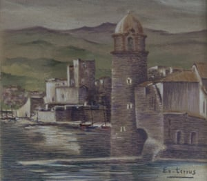 Etienne Terrus fake of Chateau Royal at Collioure with the flat tower. The tower had a sloping roof in Terrus' lifetime.