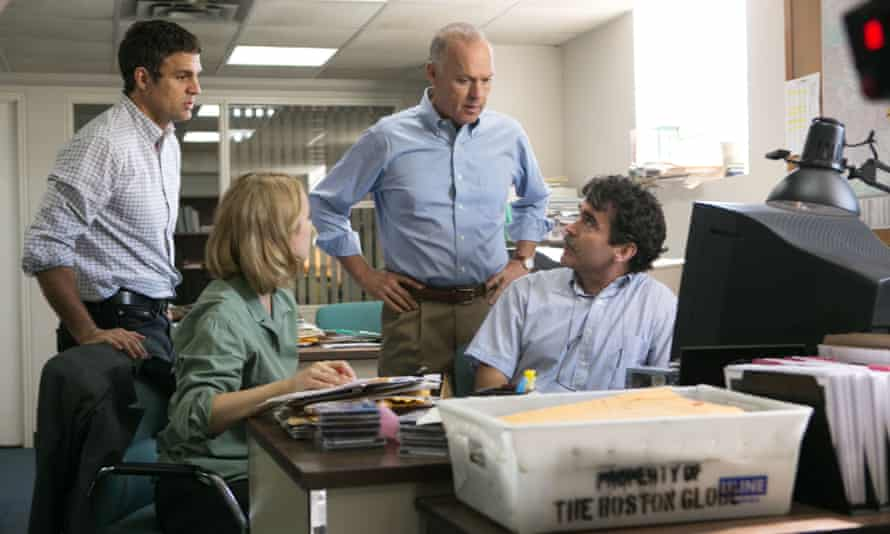 Mark Ruffalo, Rachel McAdams, Michael Keaton and Brian d'Arcy James as the Boston Globe reporters who uncovered sexual abuse allegations against priests.