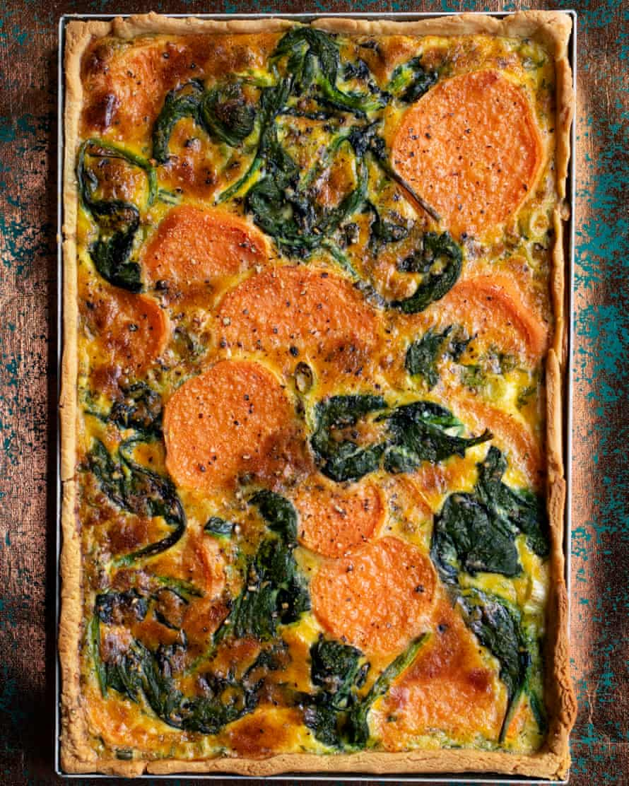 'It's good cold too': sweet potato and spinach tart.
