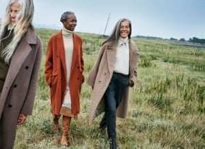 From left, Jane wears fawn coat, shirt, and jumper, all hm.com. Judith wears tobacco coat, roll neck, silk pleated skirt and boots, all joseph-fashion.com, and arc earrings, barjewellery.com. Kahti wears beige coat, mango.com, cream silk shirt and boots, both joseph-fashion.com, roll neck, uk.maje.com, and leather trousers, frenchconnection.com