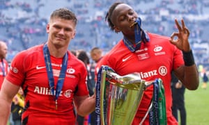 Saracens' Owen Farrell and Maro Itoje celebrate winning the 2019 Champions Cup