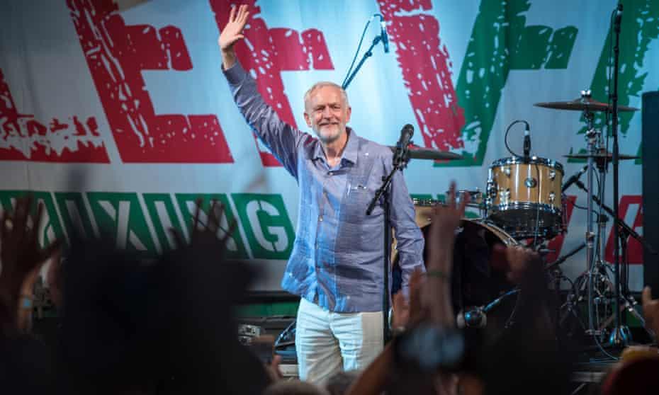 Jeremy Corbyn on stage at Glastonbury last month.