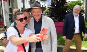Anthony Albanese posed for selfie photos at the Southbank markets in Brisbane this week as former prime minister Kevin Rudd looked on.