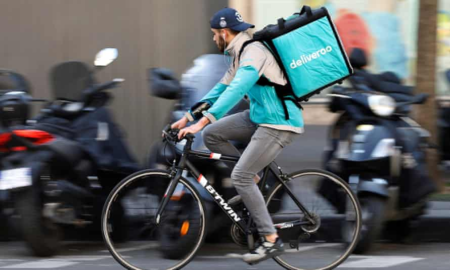 A Deliveroo rider at work