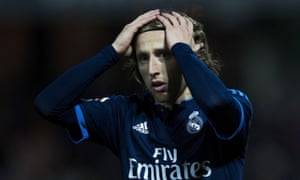 Luka Modric reacts after Granada equalise through Youssef El-Arabi.