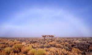 """A """"fogbow"""" over the Pony Express sign, Nevada."""