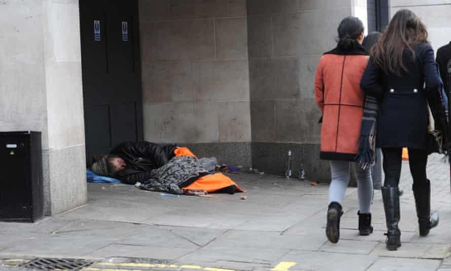 Rough sleepers in London.