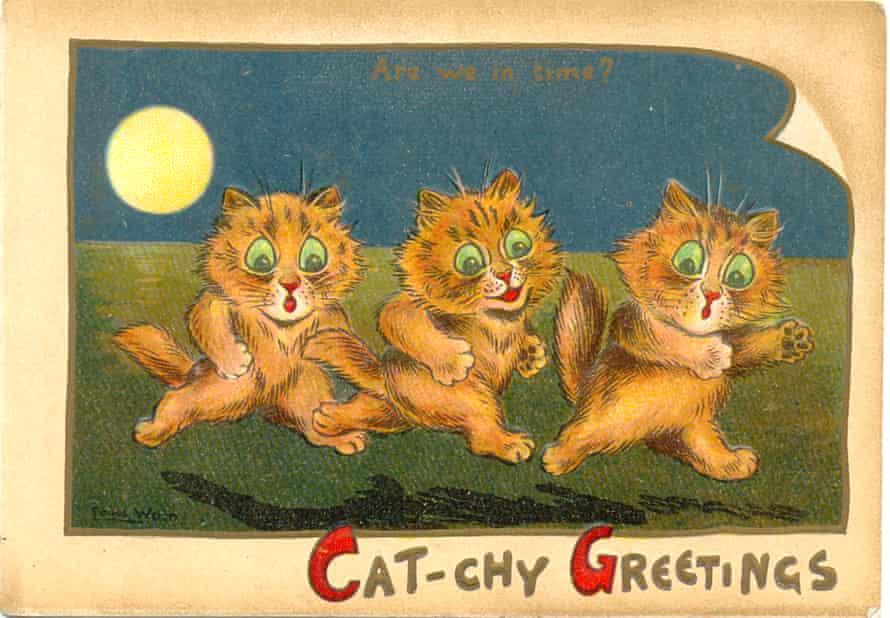 Greeting card by Louis Wain, circa 1895.