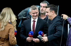 Manchester United's manager Ole Gunnar Solskjaer with Sky Sports pundit Gary Neville.