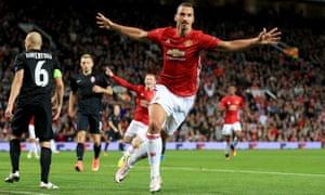 Manchester United's Zlatan Ibrahimovic celebrates after opening the scoring.
