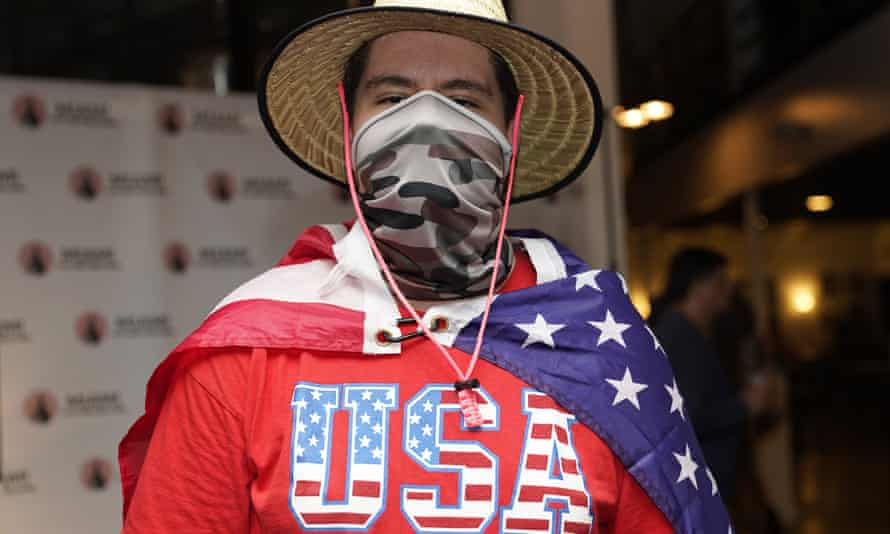 A man attending an event hosted by the Miami Young Republicans and Latinos for Trump.