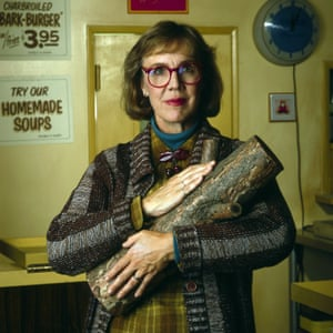 Excellent cardigan wearing: Catherine Coulson, AKA the Log Lady.