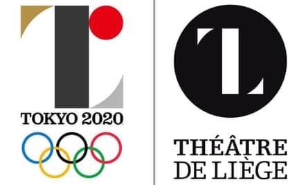 Tokyo 2020 logo designed by Kenjiro Sano (left) and Théâtre de Liège logo designed by Olivier Debie.