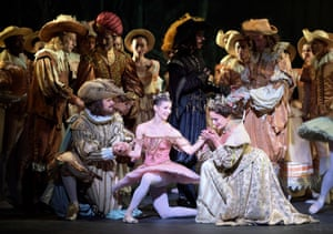 Alina Cojocaru, centre, with Grant Rae and Jane Haworth in ENB's The Sleeping Beauty.