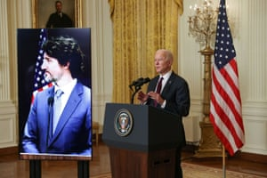 US President Joe Biden and Canada's Prime Minister Justin Trudeau, appearing via video conference call, give closing remarks at the end of their virtual bilateral meeting.