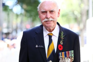 Serviceman Ron Webb attends the cenotaph during the Remembrance Day service held at Martin Place
