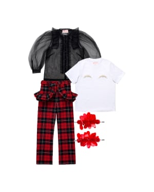 Tulle shirt, £49.99, T-shirt, £34.99, trousers, £79.99, and hair clips, £24.99.