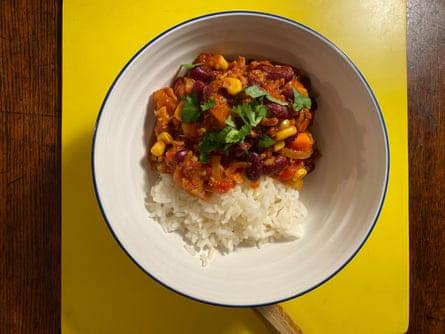 Marie Laforêt's veg chilli uses soya mince.