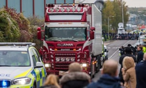The lorry is driven away from the scene