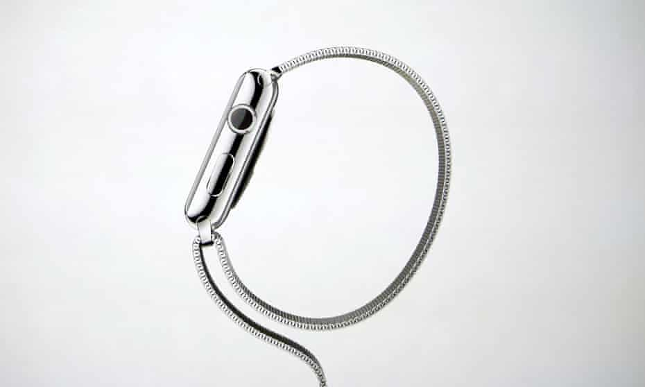 The Apple Watch shown on a screen during an Apple event at the Flint Center in Cupertino
