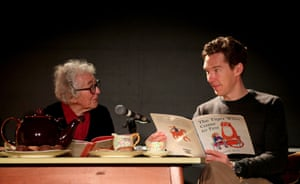 Kerr and the actor Benedict Cumberbatch during a reading of The Tiger Who Came to Tea, to celebrate the 50th anniversary of the book at the Storystock festival in London in 2018