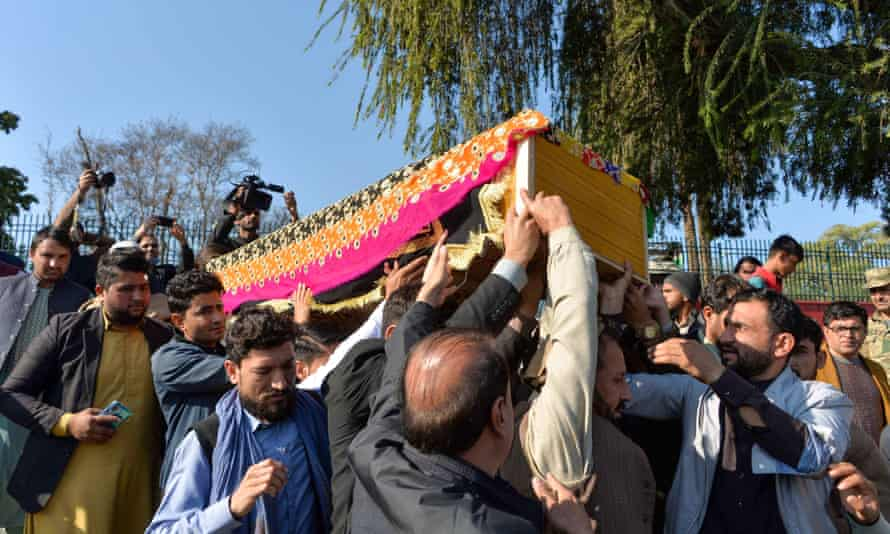 Mourners carry the coffin of Malalai Maiwand