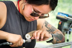 The Ulu making workshop – or the woman's knife – was taught to a full class by experts Yukon knife maker George Roberts and Nunavut performer and artist Mathew Nuqingaq.