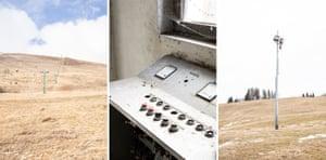 (L-R) Alpe Giumello in Lombardia; a control room in Paularo; a closed slope in Recoaro Mille