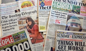 British Sunday newspapers from 29 March 29 2020.