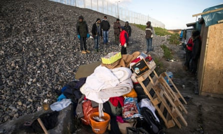 Eritrean migrants in the 'Jungle' refugee camp in Calais, France.