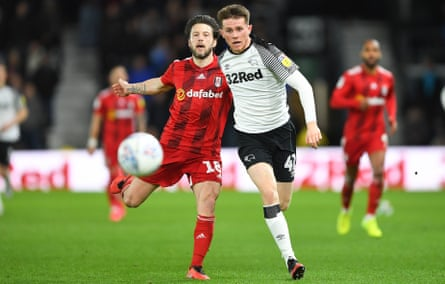 Max Bird (right) in action for Derby against Fulham.