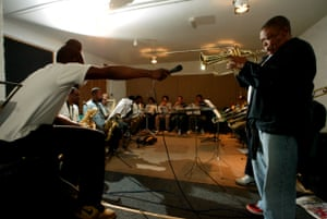 Rehearsing with Jason Yarde, left, and the Jazz Jamaica All Stars in 2004