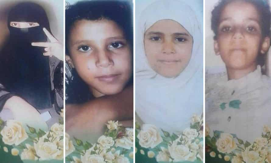 Four of the six daughters of Majed Al Wahidi, a teacher, who died during an attack in Yemen: from left to right, Rufaida, 16, Amat Al Wahhab, 9, Amat Al Salam and Amat Al Hakim, 12.