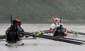 Cambridge celebrate winning the women's boat race.