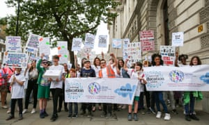 Protesters in London in May, demanding action to address the crisis in special educational needs.