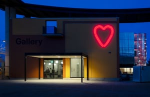 MK Gallery, Milton Keynes, with its neon version of the heart motif used to sell the town in its early days.