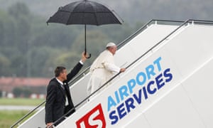 Pope Francis boards a flight on Sunday from Kraków to Rome after his five-day pilgrimage to Poland.