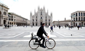 A cyclist in Milan, which has announced ambitious plans to reallocate street space from cars to bicycles in the wake of its coronavirus lockdown.