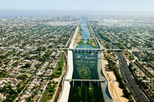 The Los Angeles River arrives at sea level in Long Beach, California near the river's mouth