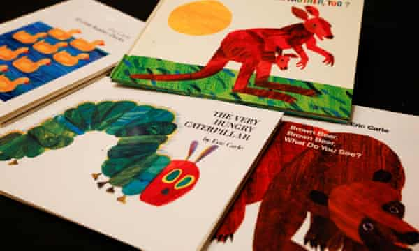 A selection of Eric Carle's books. He worked in collage, overlaying layers of tissue paper, so creating images in near transparency as well as in deep and multi-layered colours.