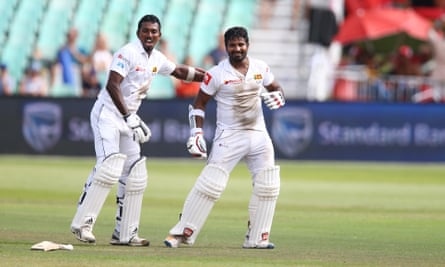 Kusal Perera (right) and Vishwa Fernando of Sri Lanka celebrate at the end of their improbable victory over South Africa in Durban.
