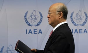 Yukiya Amano, head of the IAEA, at a press conference where he announced the end of the investigation of Iran
