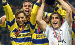 Enrico Chiesa, left, celebrating Parma's Uefa Cup victory over Marseille in 1999.