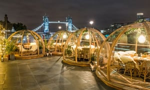 Snowglobes on the Thames … igloos at Coppa Club in London.