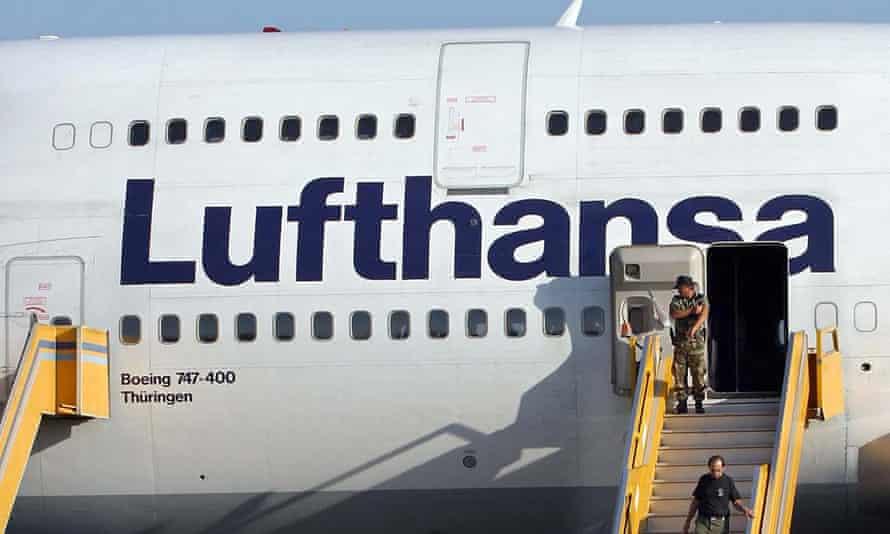 A Lufthansa Boeing 747.