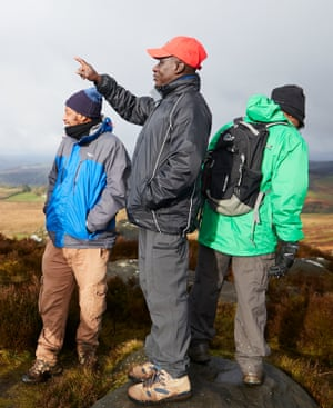 Maxwell Ayamba, centre, with walkers in the Peak District.