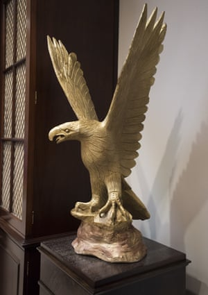 Perched in the large Roosevelt Room are two eagle carvings more than 3ft tall